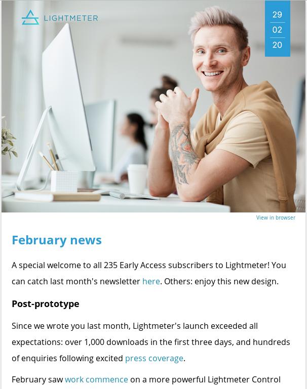 Screenshot of the Lightmeter February newsletter