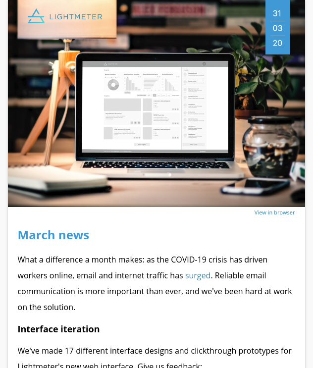 Lightmeter email newsletter from March 2020