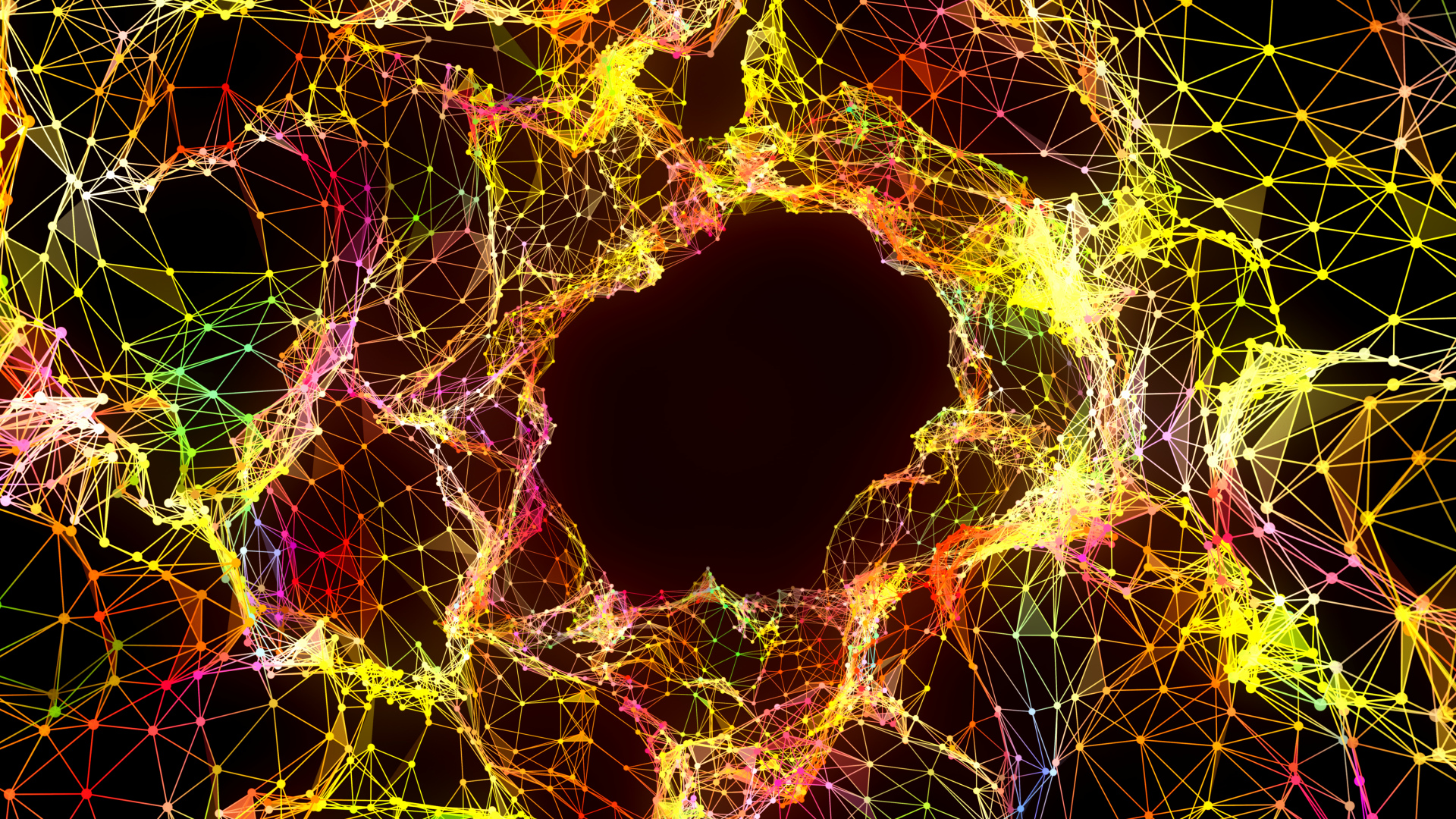 Colourful network of nodes with hole in center