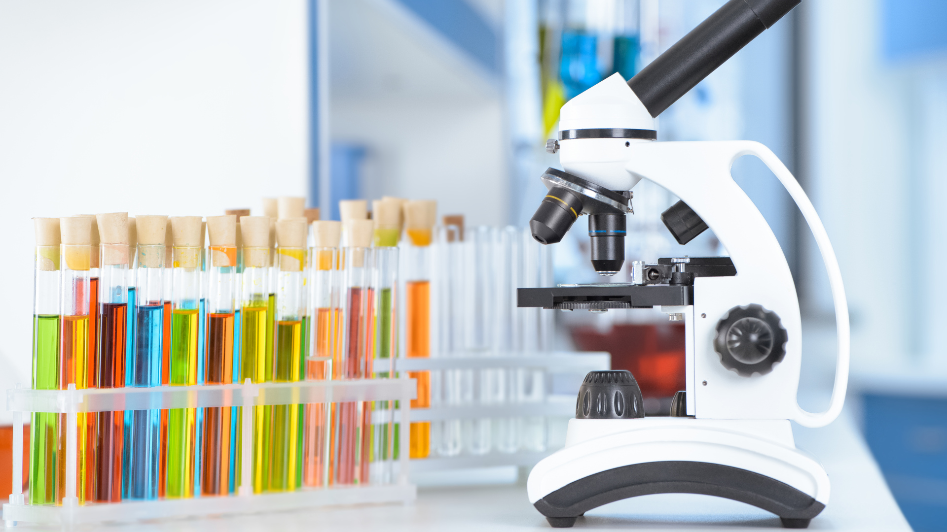 test tubes and microscope on table in laboratory