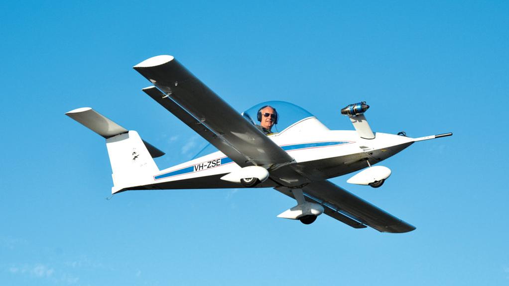 solo pilot flying a minijet single-seater aircraft